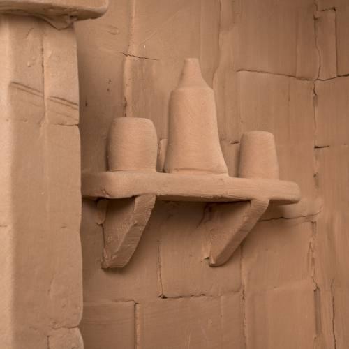 Capanna presepe terracotta illuminata Deruta s8