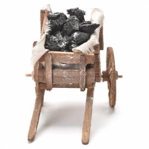Carretto con carbone presepe napoletano 12x20x8 cm s4