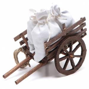 Presepe Napoletano: Carretto con sacchi presepe napoletano 7x10x4 cm
