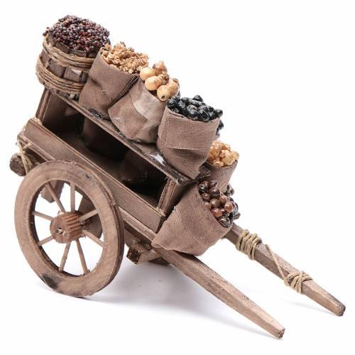 Carro con sacchi di frutta secca presepe Napoli 10x18x8 cm s2