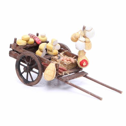 Cart with cured meats and cheeses for Neapolitan Nativity, measuring 9x15x6cm s2