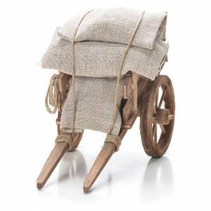 Cart with sacks, Neapolitan Nativity 10x18x8cm s4