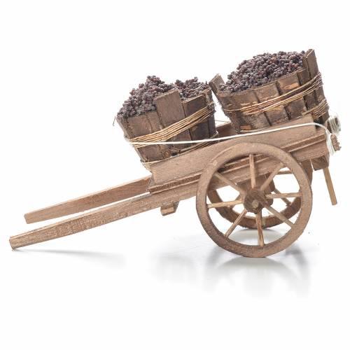 Cart with tubs, Neapolitan Nativity 10x18x8cm s2