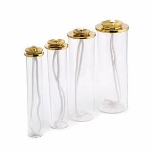 Bougies, cierges, chandelles: Cartouche en verre et laiton pour bougies à cire liquide