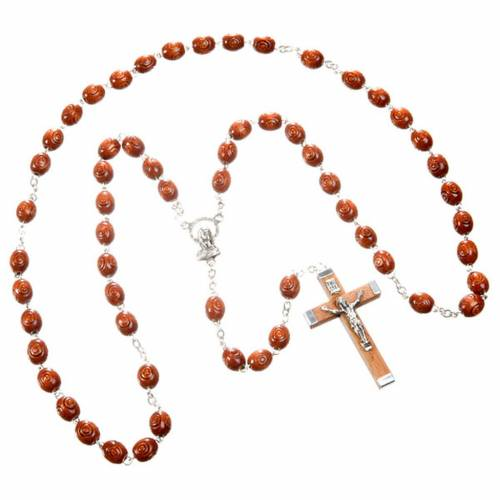 Carved oval beads rosary s3