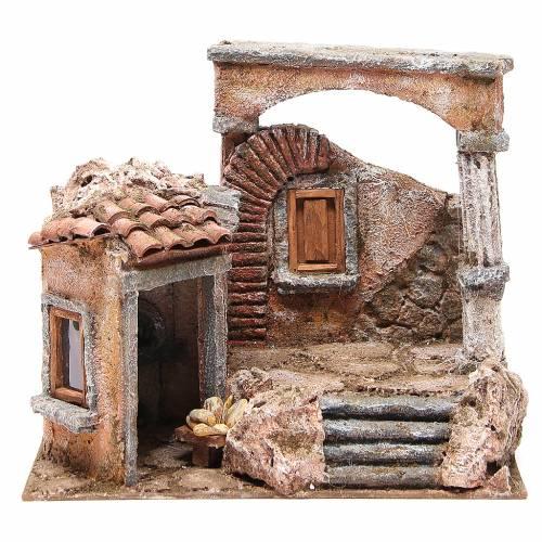 Casa con capanna colonna romana presepe 28x30x20 cm s1