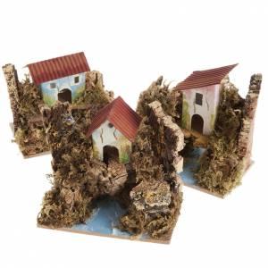 Ambientazioni, botteghe, case, pozzi: Casetta presepe legno su fiume assortite