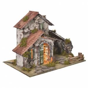 Ambientazioni, botteghe, case, pozzi: Casolare presepe con luce e grotta 32,5x45x30 cm