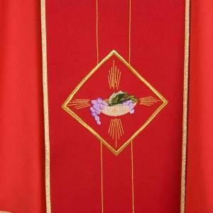 Casula liturgica eucarestia spighe uva 100% lana s4