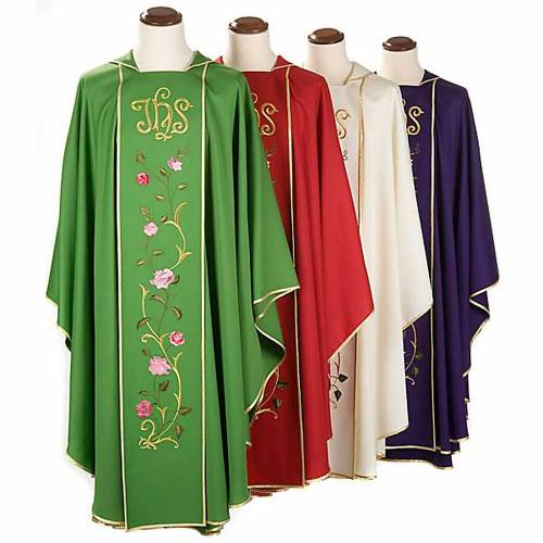 Casula liturgica IHS rose colorate 100% lana, con stola s1