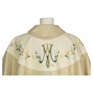 Casule: Casula Mariana con decori floreali lana viscosa effetto dorato