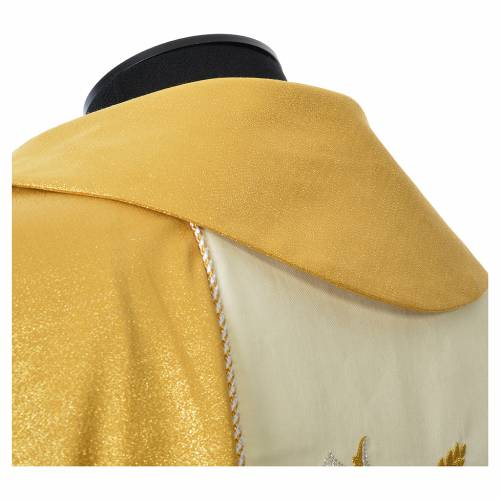 Casula oro 100% pura lana vergine doppio ritorto ricamo fascione s6
