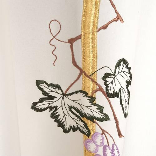 Casula sacerdotale croce lunga dorata uva poliestere s5