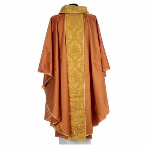 Casula sacerdotale seta oro 100% ricamo dorato s3