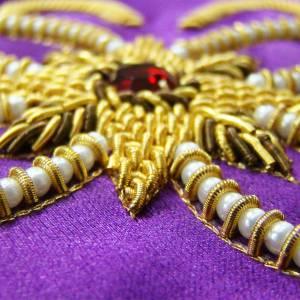 Casulla 100% pura seda natural BORDADO A MANO decoración s5
