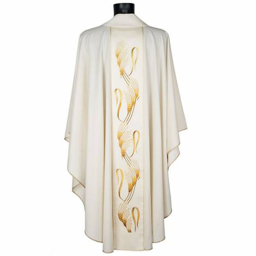 Casulla sacerdotal con estola espiga cruz dorada s3