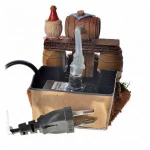 Cave avec tonneau pour crèche et pompe à eau 8x11x9 cm s4