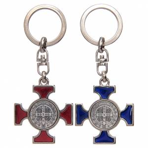 Key Rings: Celtic keychain in silver metal, Saint Benedict