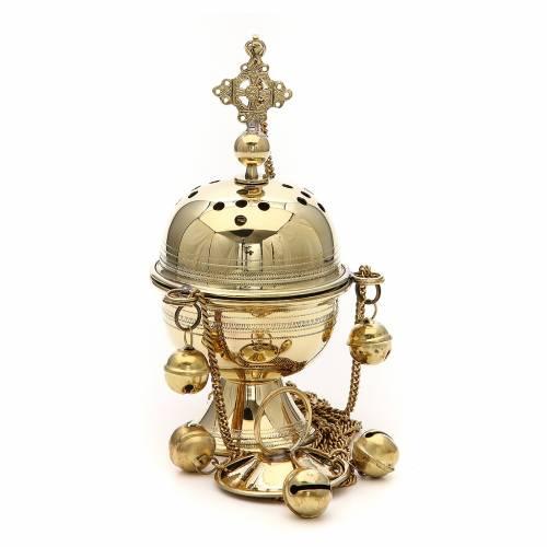 Censer in brass hand-made Bethlehem monks 20cm s2