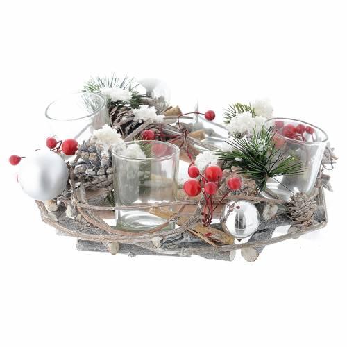 Centrotavola di Natale e Avvento con bicchieri e bacche s2