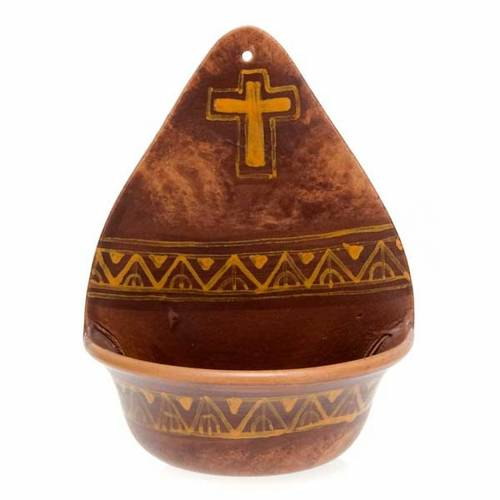 Ceramic waterfont with cross decor s3