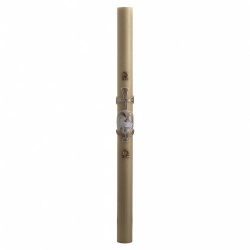 Cero pasquale cera d'api agnello argento croce 8x120 cm s3