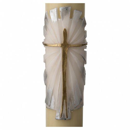 Cero pasquale cera d'api Risorto fondo bianco argento s2