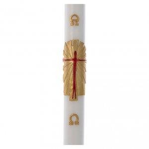 Candele, ceri, ceretti: Cero pasquale cera bianca Risorto fondo oro 8x120 cm