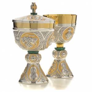 Chalice and Ciborium in brass and malachite mod. Tassillo, hand s4