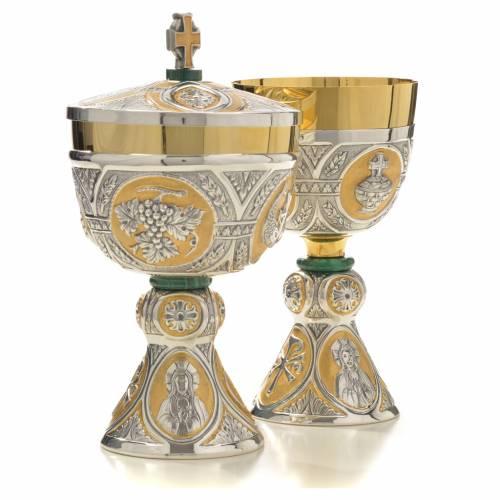 Chalice and Ciborium in brass and malachite mod. Tassilo, hand s4
