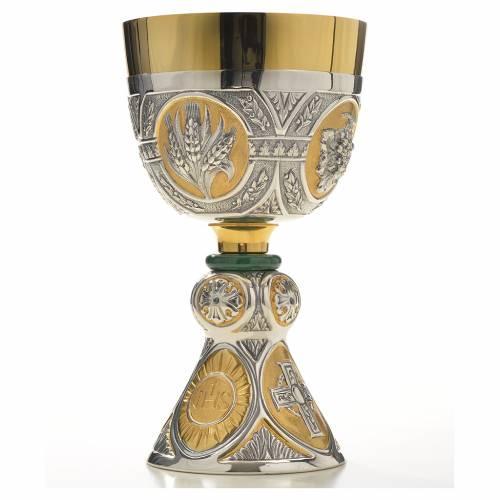 Chalice and Ciborium in brass and malachite mod. Tassilo, hand s6