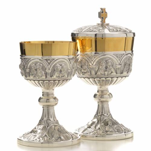 Chalice and Ciborium in brass mod. 12 Apostoles, hand chiselled s3