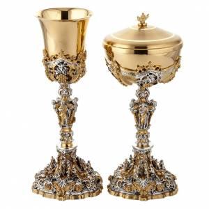 Metal Chalices Ciborium Patens: Chalice and ciborium Nativity, golden silver and brass