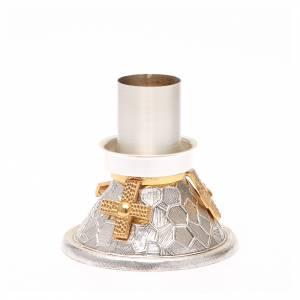 Chandelier bronze argenté croix dorée s3