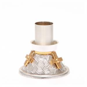 Chandelier bronze argenté croix dorée s4