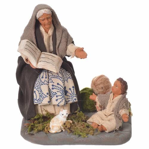 Chanteuse de contes et enfant 10 cm crèche Naples s1
