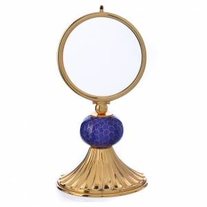 Monstrances, Chapel monstrances, Reliquaries in metal: Chapel Monstrance in gold-plated brass and enamel, 15cm