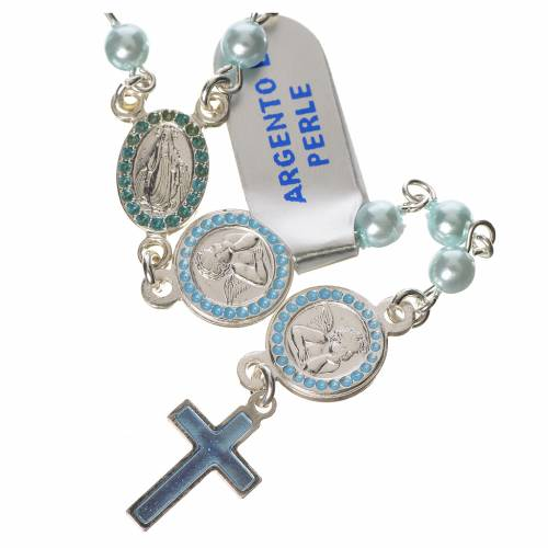 Chapelet argent 800 perles bleu Ange Gardien s1