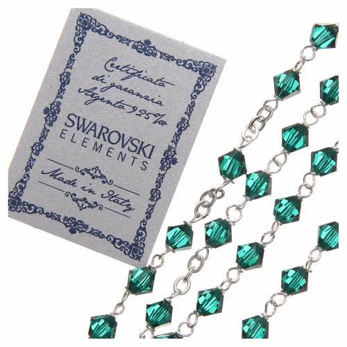 Chapelet argent 925 Swarovski chaîne mailles rondes 6 mm vert s3