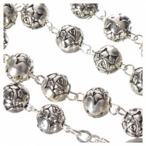 Chapelet Pape François petites roses métal argenté s5