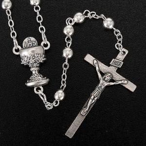 Chapelets en métal: Chapelet première communion, perles argentées