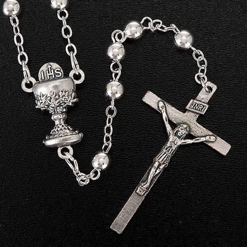 Chapelet première communion, perles argentées s4