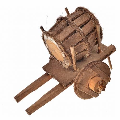 Char avec tonneau crèche napolitaine 5,5x7,5x5,5cm s1