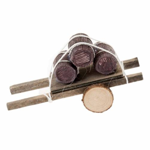 Charrette bois avec tonneaux miniature crèche noel s1