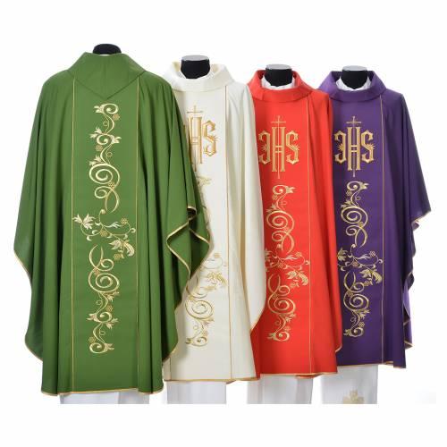 Chasuble 80% polyester 20% laine décor IHS doré s2