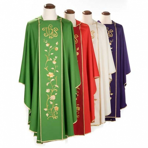 Chasuble and stole in 100% wool, IHS roses s3