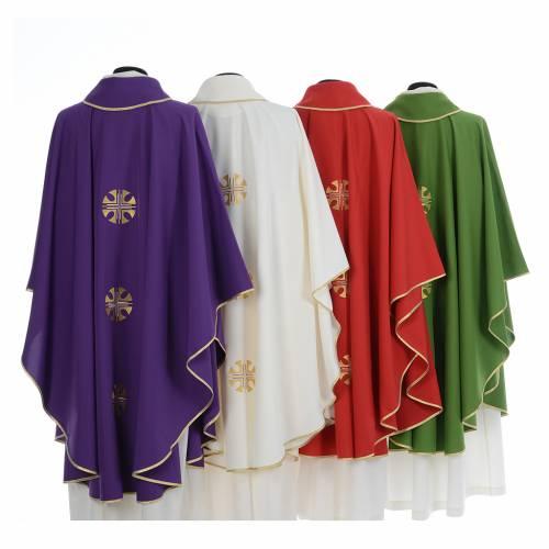 Chasuble crêpe polyester trois croix bords dorés s2