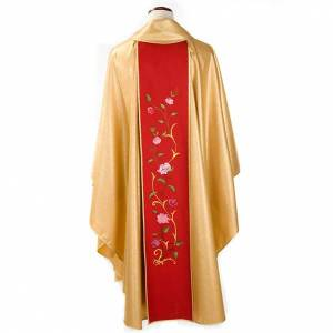 Chasubles: Chasuble dorée bande rouge IHS roses