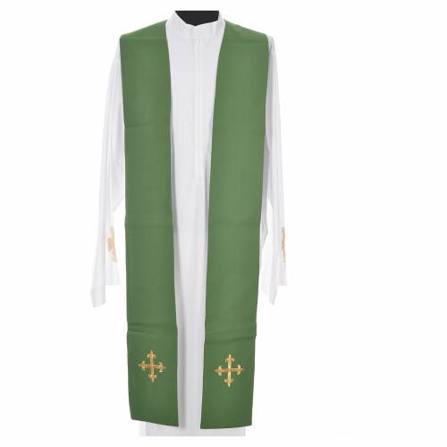 Chasuble in 100% wool, IHS, ears of wheat embroidery s11