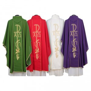 Chasuble in 80% polyester 20% wool, Chi-Rho, Alpha Omega embroid s2